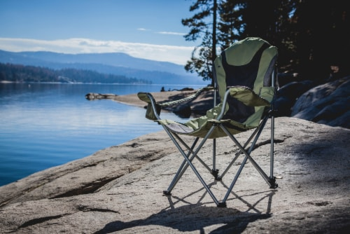 Reclining Camp Chair, Sage Green with Gray Accents Perspective: right