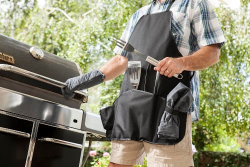 BBQ Apron Tote Pro Grill Set, Black with Gray Accents Perspective: right