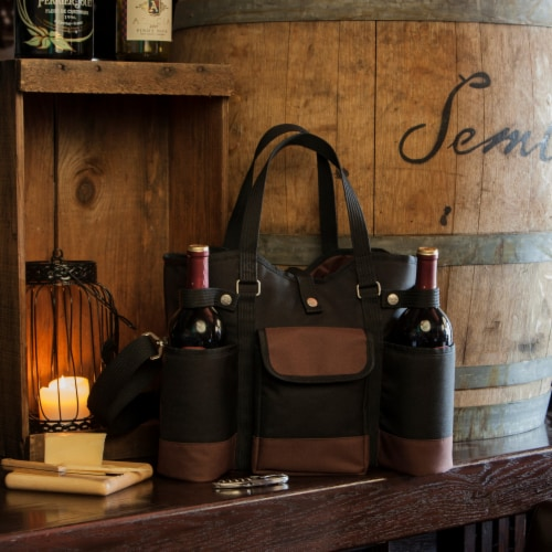 Wine Country Tote – Wine & Cheese Picnic Tote, Black with Burgundy Accents Perspective: right