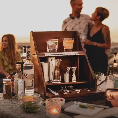 Madison Acacia Tabletop Bar Set, Acacia Wood Perspective: right