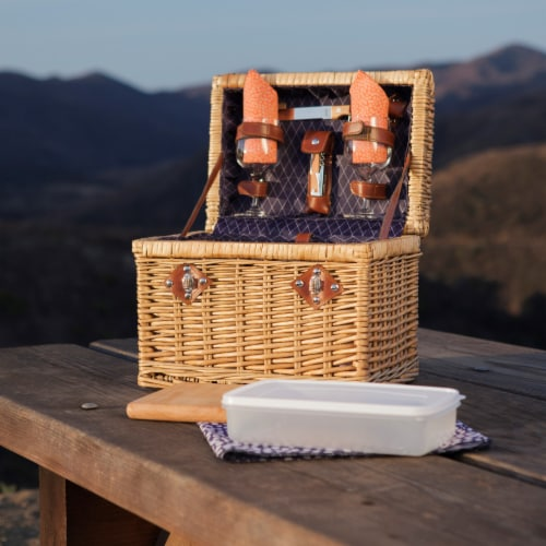 Napa Wine & Cheese Picnic Basket, Purple with Coral Pattern Perspective: right