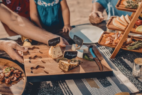 Picnic Time Delio Acacia Cheese Board with Chalk Board Markers - Acacia Perspective: right