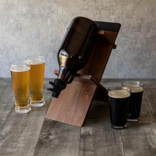 Growler Stand with 64oz Glass Growler, Acacia Wood Perspective: right