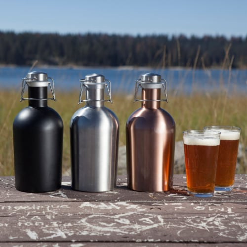 Stainless Steel 64 oz. Growler, Matte Black Perspective: right