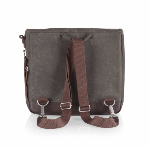Adventure Wine Tote, Khaki Green with Brown Accents Perspective: right