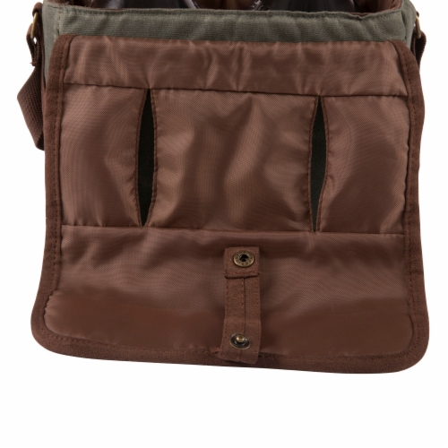 Insulated Double Growler Tote, Khaki Green with Brown Accents Perspective: right