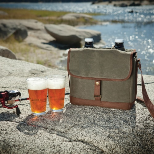 Insulated Double Growler Tote with 64 oz. Glass Growlers, Khaki Green with Brown Accents Perspective: right