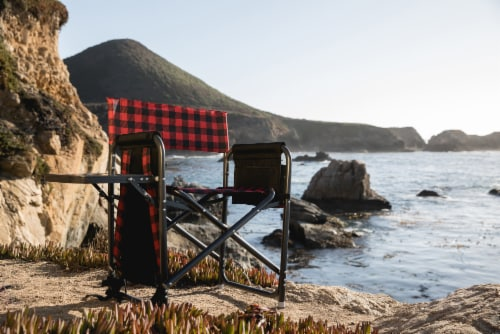 Outdoor Directors Folding Chair, Red & Black Buffalo Plaid Pattern Perspective: right