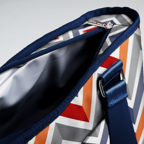 Topanga Cooler Tote Bag, Vibe Collection - Navy Blue, Orange, & Gray Pattern Perspective: right