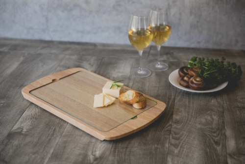 Billboard Glass Top Serving Tray, Rubberwood Perspective: right