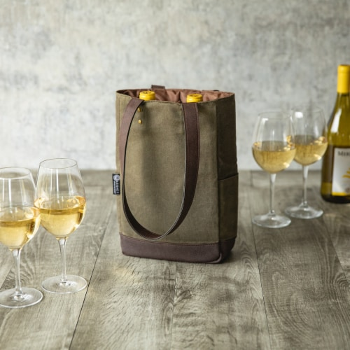 2 Bottle Insulated Wine Cooler Bag, Khaki Green with Beige Accents Perspective: right