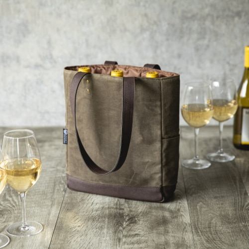 3 Bottle Insulated Wine Cooler Bag, Khaki Green with Beige Accents Perspective: right