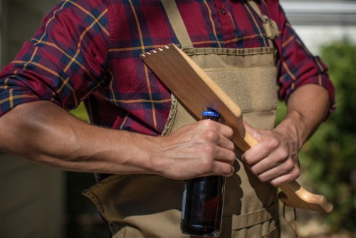 Hardwood BBQ Grill Scraper with Bottle Opener, Rubberwood Perspective: right