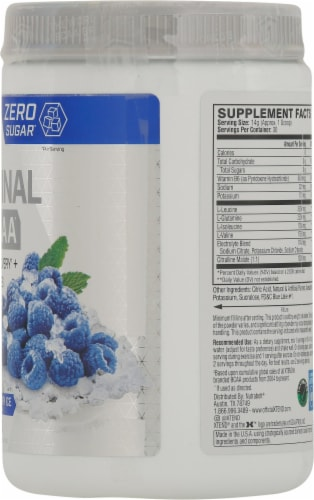 Xtend The Original BCAA Blue Raspberry Ice Muscle Recovery + Electrolytes Dietary Supplement Perspective: right