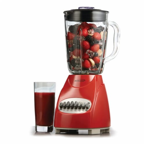Brentwood JB-920R 12 Speed and Pulse Electric Kitchen Blender w/ Glass Jar, Red Perspective: right