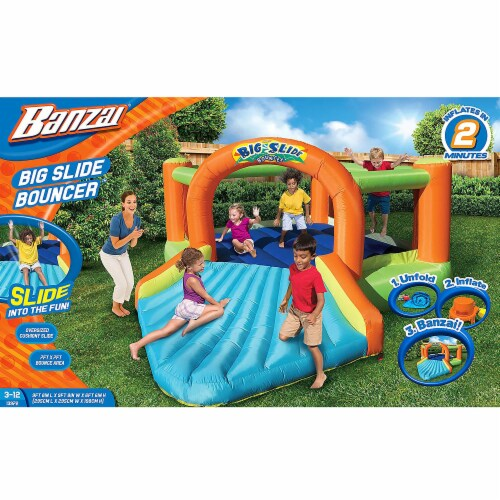 Banzai Big Slide Bouncer Outdoor Inflatable Kids Playhouse and Slide with Blower Perspective: right