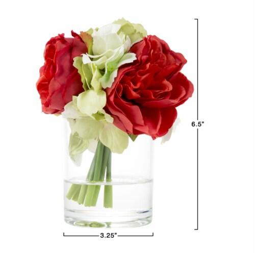 Glass Vase Artificial Hydrangea Rose Floral Arrangement Centerpiece 6.5 x 3.25 Perspective: right