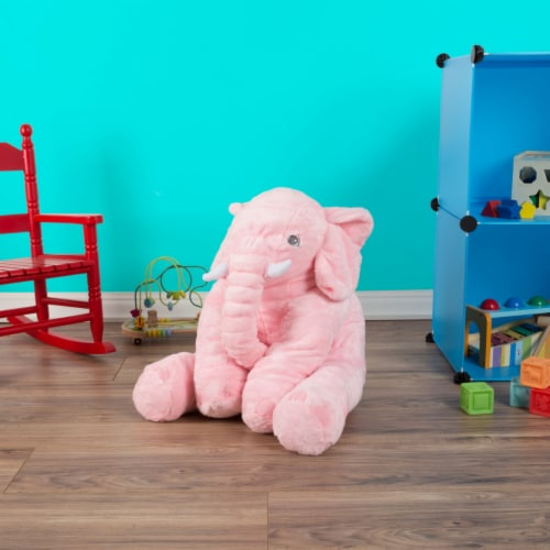 Pink Elephant Stuffed Animal Pillow Kids Adults Huggable Toddler Kids Friend Perspective: right