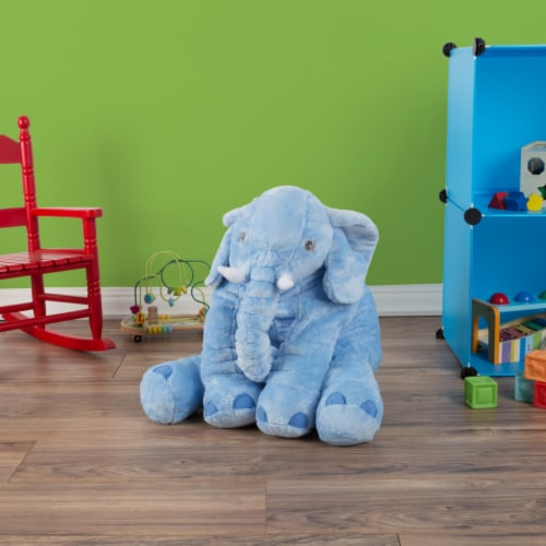 Blue Elephant Stuffed Animal Pillow Kids Adults Huggable Toddler Kids Friend Perspective: right