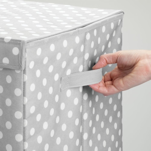 mDesign Large Laundry Hamper Basket, Hinged Lid, Polka Dot Print - Gray/White Perspective: right