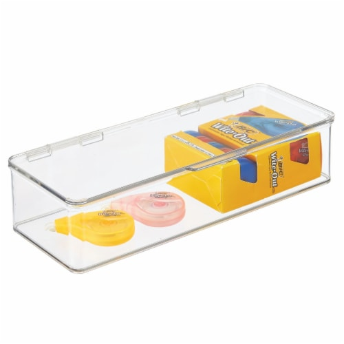mDesign Wide Plastic Desk Organizer Box for Home Office, 4 Pack Perspective: right
