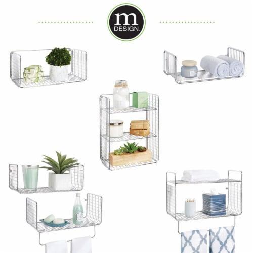 mDesign 2 Tier Storage Organizer Bath Shelf with Towel Bar, Wall Mount - Chrome Perspective: right