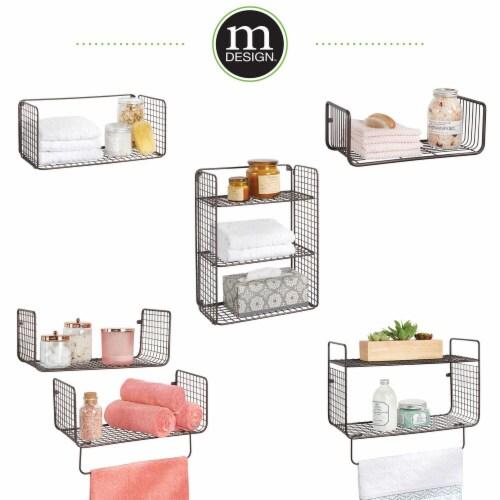 mDesign 2 Tier Storage Organizer Bath Shelf with Towel Bar, Wall Mount - Bronze Perspective: right