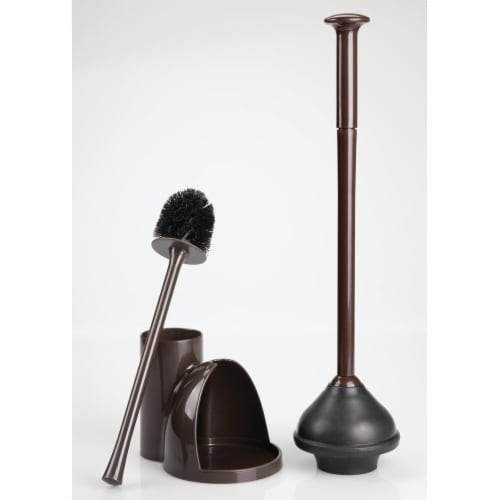 mDesign Compact Plastic Toilet Bowl Brush and Plunger Combo, 2 Pack - Dark Brown Perspective: right