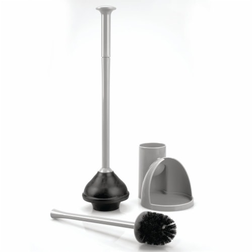 mDesign Compact Plastic Toilet Bowl Brush and Plunger Combo, 2 Pack - Gray Perspective: right