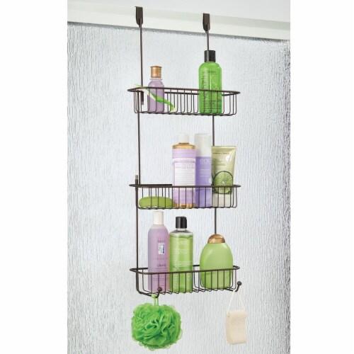 mDesign Metal Over Shower Door Caddy, Bathroom Storage Organizer Perspective: right