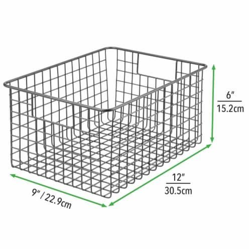 mDesign Metal Wire Food Storage Organizer Bin Perspective: right