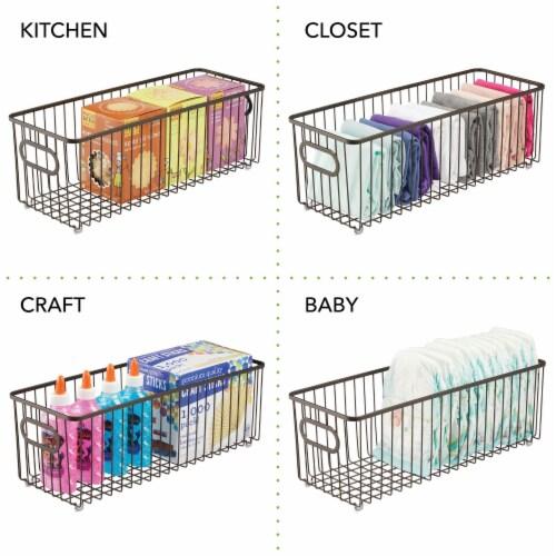 mDesign Deep Metal Bathroom Storage Organizer Basket Bin, 4 Pack - Bronze Perspective: right