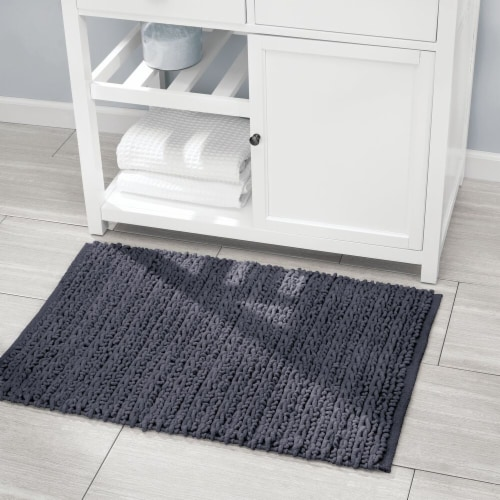 mDesign Soft Cotton Spa Mat Rug for Bathroom, Varied Sizes, Set of 3 - Navy Blue Perspective: right