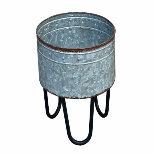 Benzara Round Galvanized Planters Perspective: right