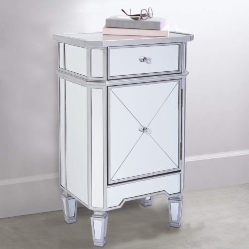 1 Door Storage Cabinet with 1 Drawer and Mirror Inserts, Gray and Silver ,Saltoro Sherpi Perspective: right