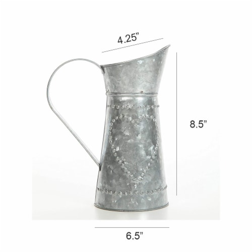 Galvanized Metal Pitcher with Embossed Design, Gray ,Saltoro Sherpi Perspective: right