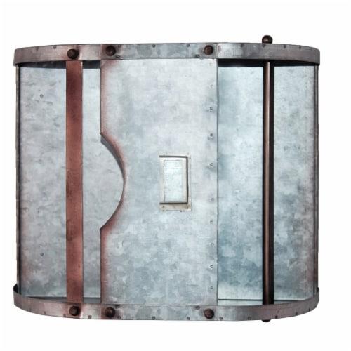 Benzara Galvanized Metal Bathroom Caddy - Gray Perspective: right