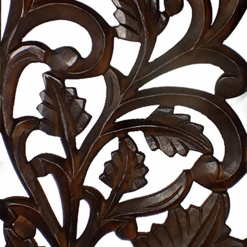 Benzara Leaves and Scrollwork Pattern Mango Wood Wall Panel - Brown Perspective: right