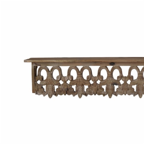 Benzara Large Aesthetic Wooden Wall Shelf - Brown Perspective: right