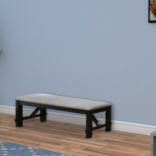 Saltoro Sherpi Dual Tone Fabric Upholstered Bench with Block Legs, Black and Light Gray Perspective: right