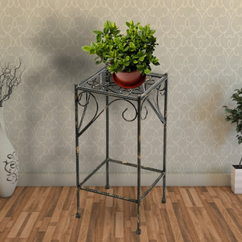 Saltoro Sherpi Scrolled Metal Frame Plant Stand with Square Top, Medium, Black Perspective: right