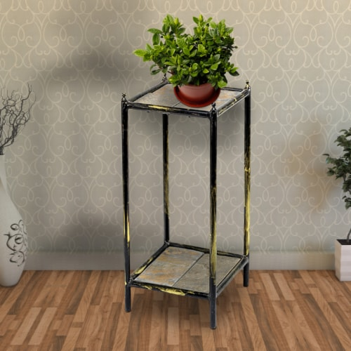 Saltoro Sherpi 2 Tier Square Stone Top Plant Stand with Metal Frame, Small, Black and Gray Perspective: right