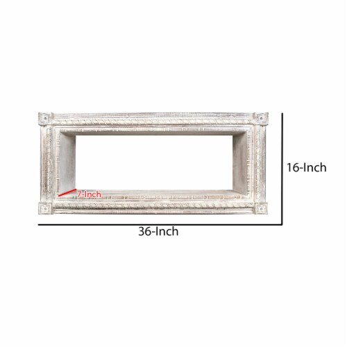 Rectangular Mango Wood Wall Mounted Shelf with Carved Details, Antique White ,Saltoro Sherpi Perspective: right