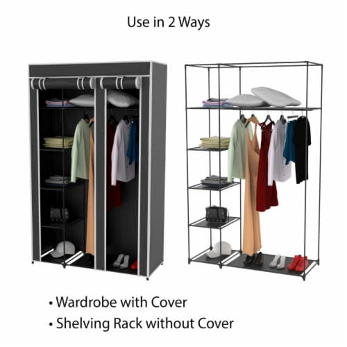 Wardrobe Closet Organizer with Dust Cover  Free Standing Vertical Armoire with Dustproof, Perspective: right