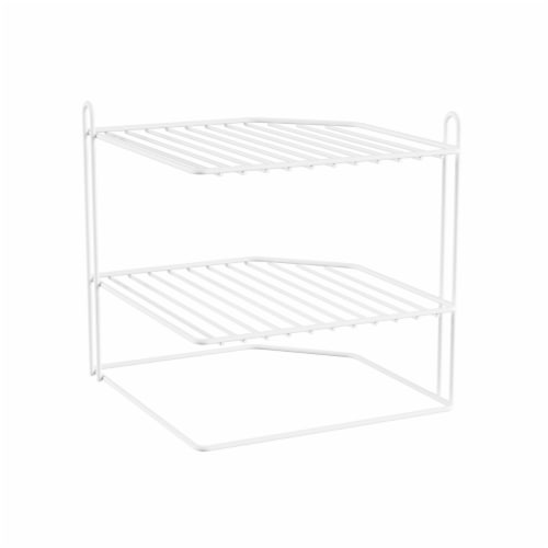 Two-Tiered Corner Shelf � Powder Coated Iron Space Saving Storage Organizer for Kitchen, Perspective: right
