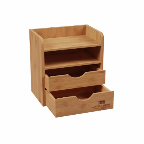 4-Tier Bamboo Desk Organizer - Wooden Office Supply Storage Accessory with Drawers Perspective: right