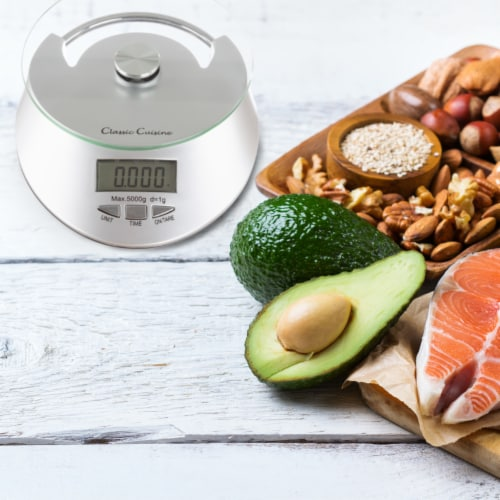 Kitchen Scale-Digital Electronic Food Weighing Appliance, 11LB. or 5000g Capacity-Measure Perspective: right