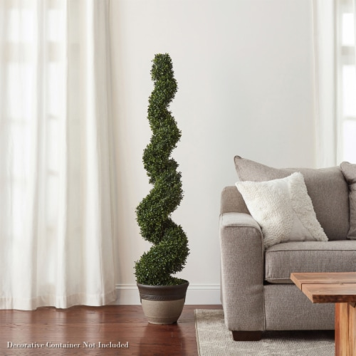 Faux Boxwood Realistic and Lifelike Plastic 5 Foot Spiral Topiary Arrangement and Weighted Perspective: right