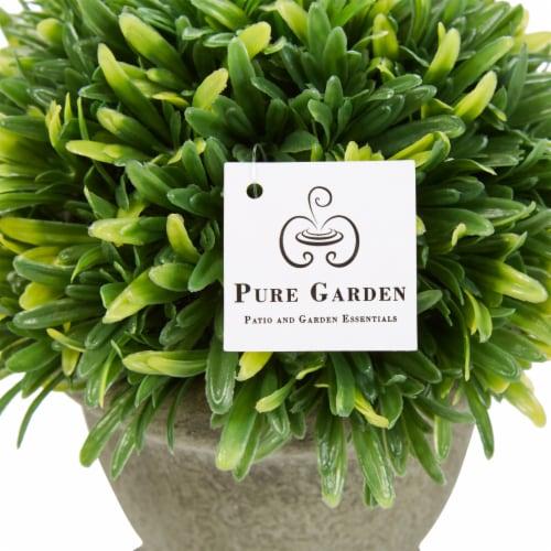 Set of 3 Artificial Podocarpus Grass Plant in Concrete Pot 7.5 Inch Decorative Faux Indoor Perspective: right