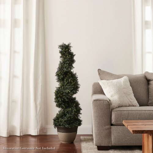 4-Foot-Tall Artificial Cypress Spiral Topiary Tree- Potted Indoor or Outdoor UV Protection Perspective: right